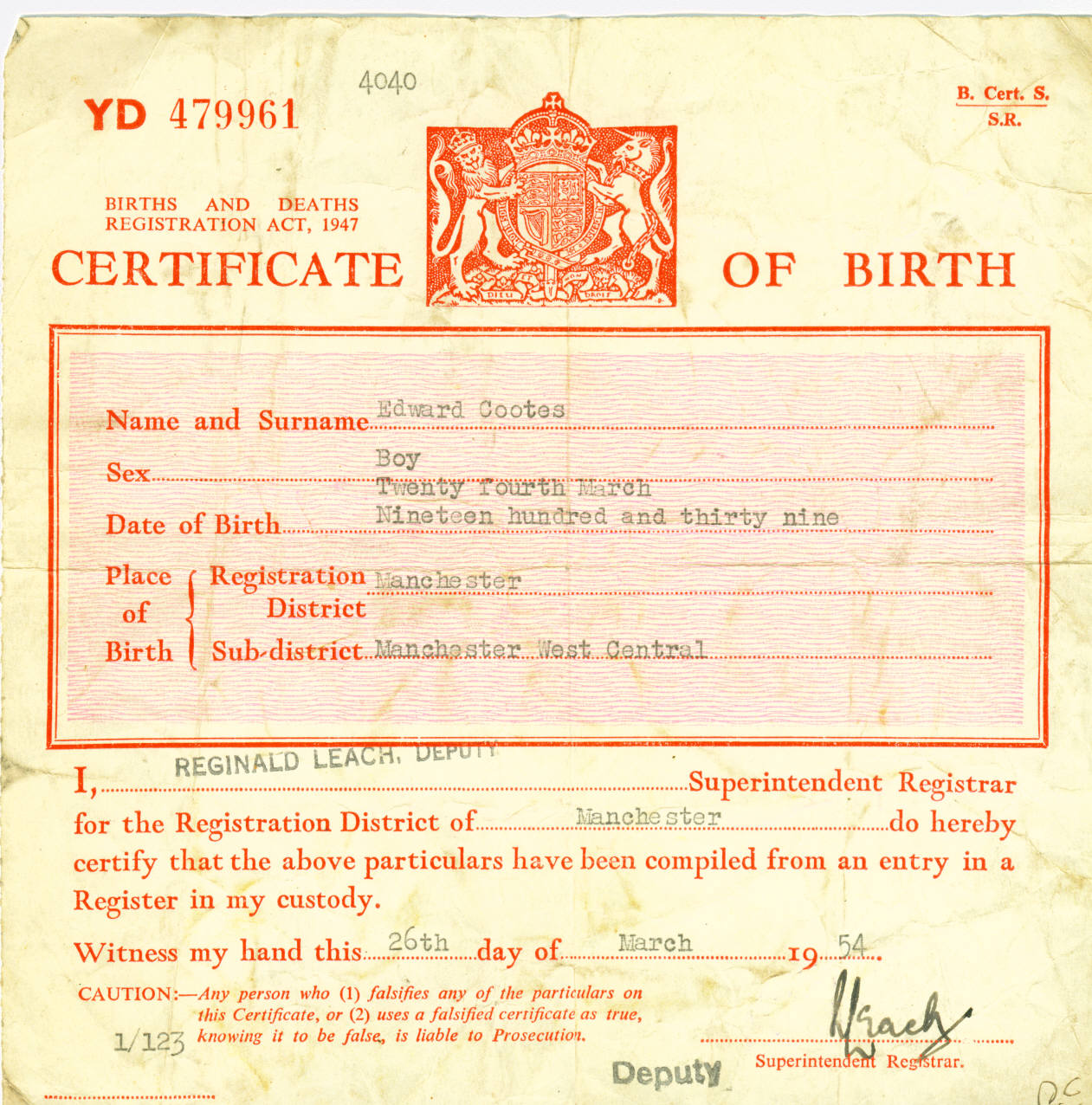Cootes Family Tree Gro Short Birth Certificate 1939 Edward Cootes